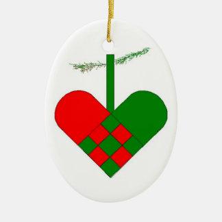 Swedish Woven Paper Heart Christmas Ornaments