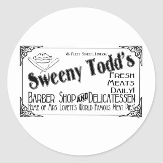 Sweeny Todd's Barber Shop & Delicatessen Classic Round Sticker