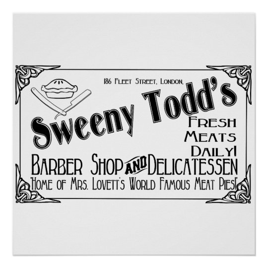 Sweeny Todd's Barber Shop & Delicatessen Poster