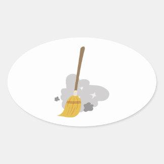Sweep Broom Oval Sticker