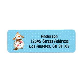 Sweeping Snowman Return Address Labels