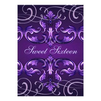 Sweet16 Dark Purple Damask Tiara Birthday Invite