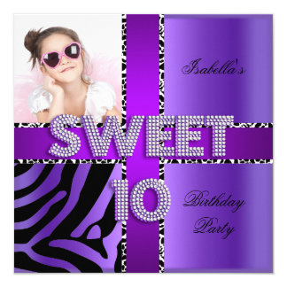Sweet 10 10th Birthday Zebra Cow Purple Black 13 Cm X 13 Cm Square Invitation Card