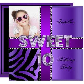 Sweet 10 10th Birthday Zebra Cow Purple Black Card