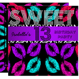 Sweet 13 13th Birthday Lips Cow Purple Black Invitation