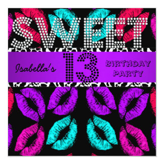 "Sweet 13 13th Birthday Lips Cow Purple Black 5.25"" Square Invitation Card"