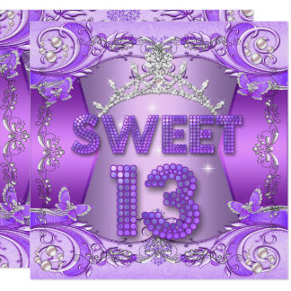 Sweet 13 13th Birthday Party Purple Silver Tiara Card