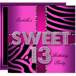 Sweet 13 13th Birthday Zebra Cow Pink Black Card