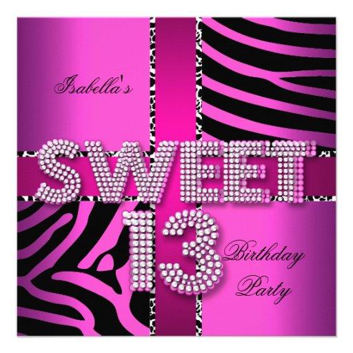Sweet 13 13th Birthday Zebra Cow Pink Black Personalized Invitations