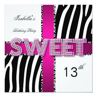 Sweet 13 13th Birthday Zebra Cow Pink Black White 13 Cm X 13 Cm Square Invitation Card