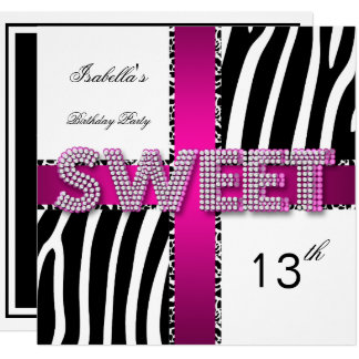 Sweet 13 13th Birthday Zebra Cow Pink Black White Card