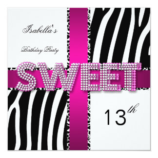 Sweet 13 13th Birthday Zebra Cow Pink Black White 5.25x5.25 Square Paper Invitation Card