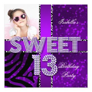 Sweet 13 13th Birthday Zebra Glitter Purple Black 13 Cm X 13 Cm Square Invitation Card