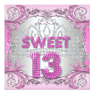 Sweet 13 13th Pink Silver Tiara Birthday Party 2 13 Cm X 13 Cm Square Invitation Card