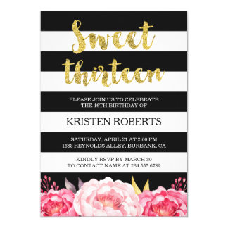 Sweet 13 Birthday Floral Gold Black White Stripes Card