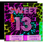 Sweet 13 Birthday Party Mixed Animal Print Card