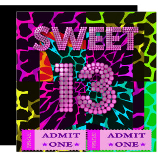 Sweet 13 Birthday Party Mixed Animal Print Card