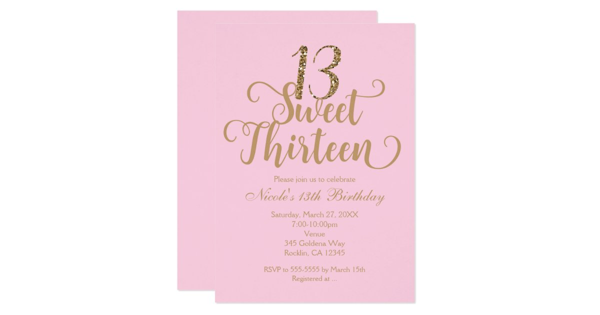 Sweet 13 Pink & Gold Birthday Party Invitations | Zazzle.co.uk