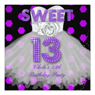 Sweet 13th Birthday Party Girls 13 Teen Purple Invites