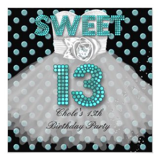 Sweet 13th Birthday Party Girls 13 Teen Teal Blue 13 Cm X 13 Cm Square Invitation Card