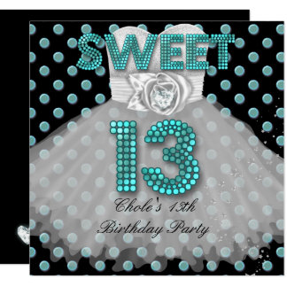 Sweet 13th Birthday Party Girls 13 Teen Teal Blue Card