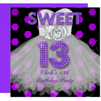 Sweet 13th Birthday Party Girls Teen Purple Card