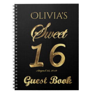 Sweet 16 16th Anniversary Guest Book Black Gold