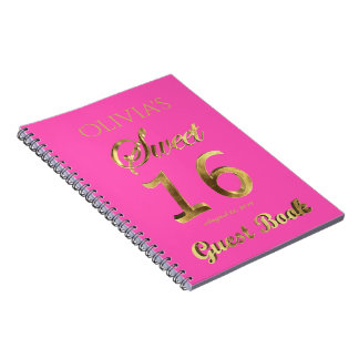 Sweet 16 16th Anniversary Guest Book Pink Gold
