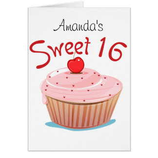 Sweet 16 16th Birthday Cupcake Greeting Card