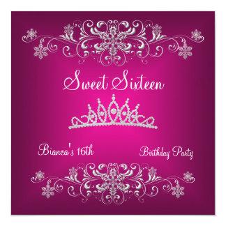 Sweet 16 16th Pink Silver Diamond Tiara Card