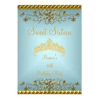 Sweet 16 16th Teal Blue Gold Diamond Tiara Card