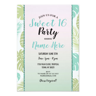 Sweet 16 Aloha Palm Tropical Birthday Party Card