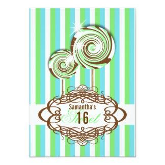 Sweet 16 aqua green sixteenth 13 cm x 18 cm invitation card