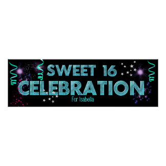 Sweet 16 Banner Poster Teal Blue