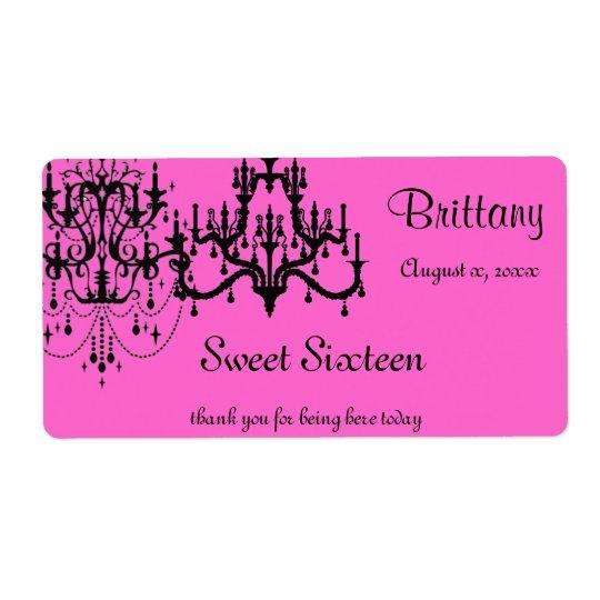 Sweet 16, Bat Mitzvah, Water Bottle, Shipping Label