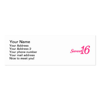Sweet 16 Birthday Business Card Templates