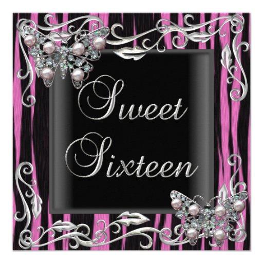 Sweet 16 Birthday Butterfly Zebra Black Pink Announcement