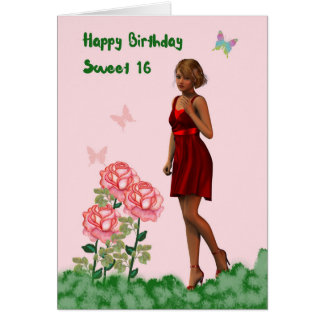 Sweet 16 Birthday Card with Young Lady