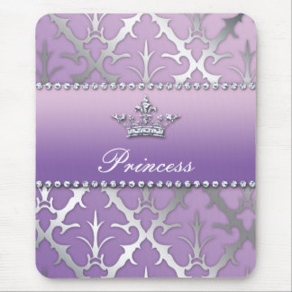 Sweet 16 Birthday Damask Baby Shower Crown Mouse Mat