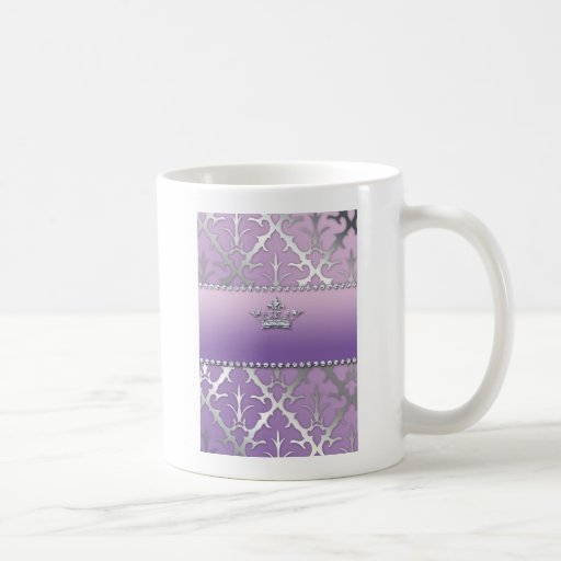 Sweet 16 Birthday Damask Baby Shower Crown Mug