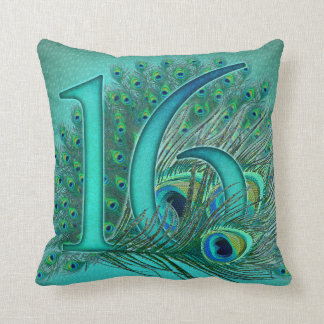sweet 16 birthday decorated age number cushion