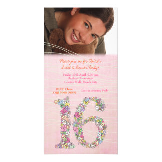Sweet 16 Birthday Dinner Party Photo Card