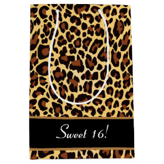 Sweet 16 Birthday Girly Gold Leopard A26A Medium Gift Bag