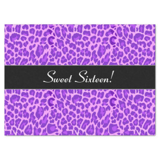 Sweet 16 Birthday Girly Purple Leopard A27 Tissue Paper