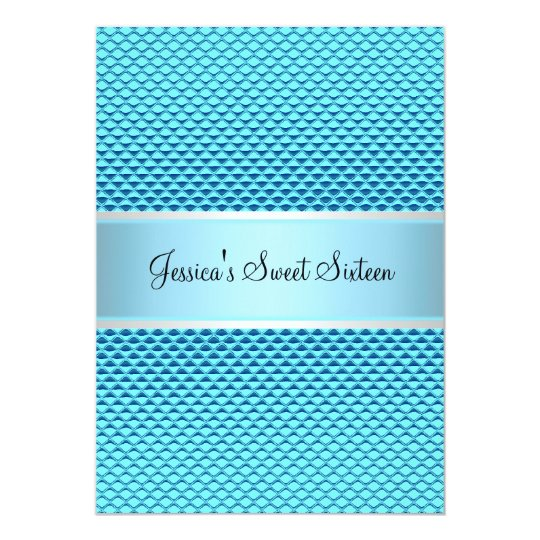 Sweet 16 Birthday Glam Blue Glitter Party Card
