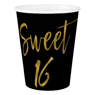 Sweet 16 Birthday Gold Foil Paper Cup