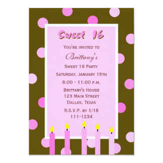 Sweet 16 Birthday Invitation -- Pink Polka Dots