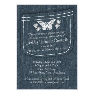 Sweet 16 Birthday Invite | Embroidered Denim