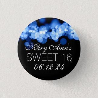 Sweet 16 Birthday Party Blue Bokeh Lights 3 Cm Round Badge