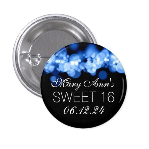 Sweet 16 Birthday Party Blue Bokeh Lights Buttons
